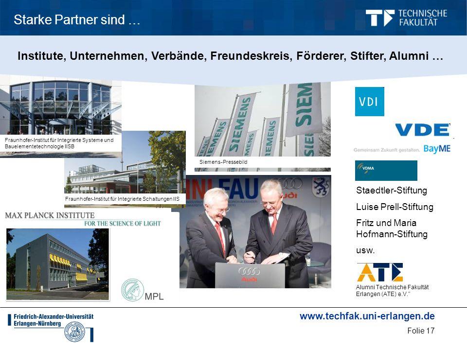 Starke Partner sind … Institute, Unternehmen, Verbände, Freundeskreis, Förderer, Stifter, Alumni …