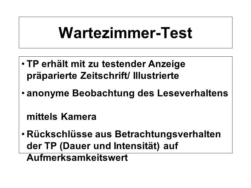 Wartezimmer-Test TP erhält mit zu testender Anzeige präparierte Zeitschrift/ Illustrierte. anonyme Beobachtung des Leseverhaltens mittels Kamera.