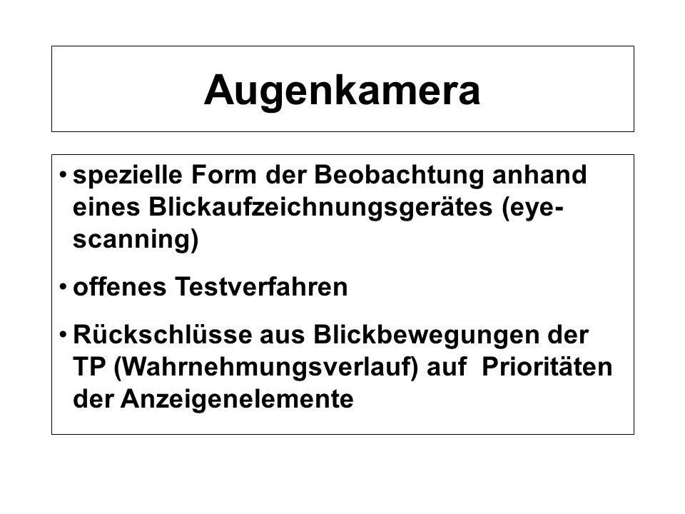 Augenkamera spezielle Form der Beobachtung anhand eines Blickaufzeichnungsgerätes (eye-scanning) offenes Testverfahren.
