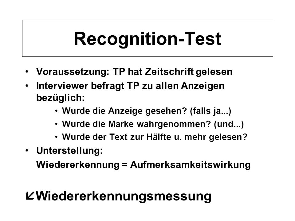 Recognition-Test Wiedererkennungsmessung