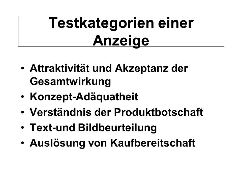 Testkategorien einer Anzeige