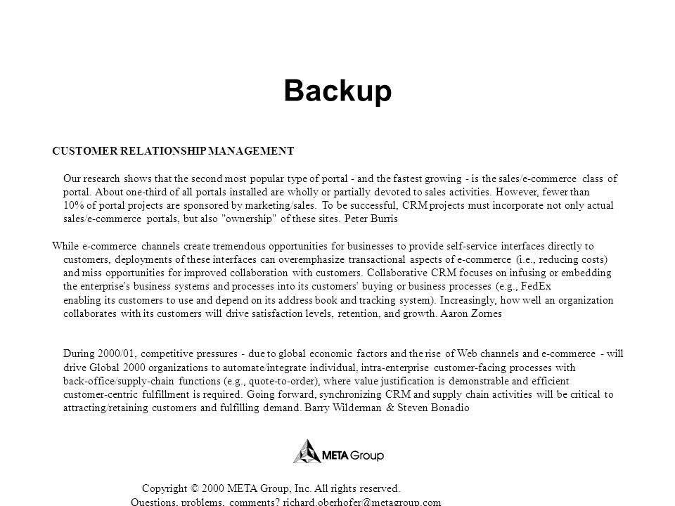Backup CUSTOMER RELATIONSHIP MANAGEMENT