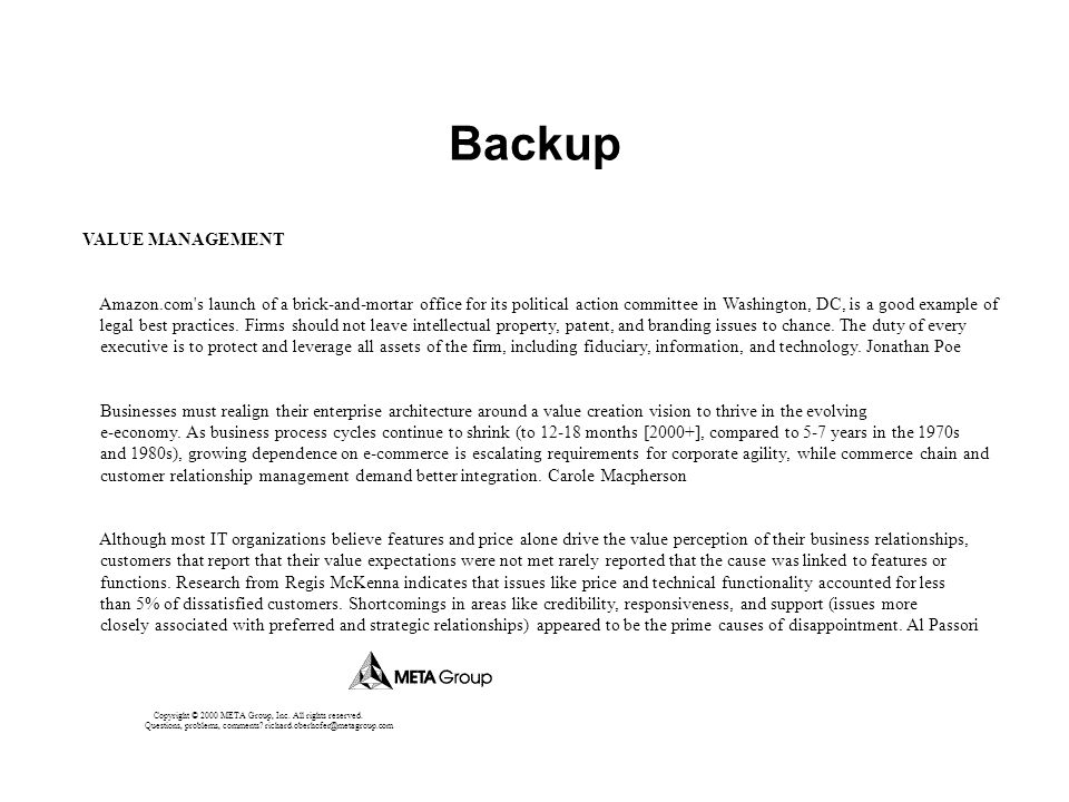 Backup VALUE MANAGEMENT