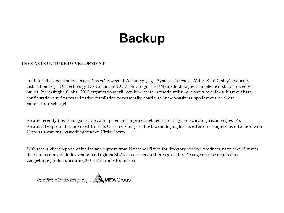 Backup INFRASTRUCTURE DEVELOPMENT