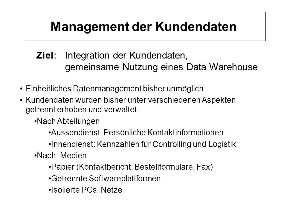 Management der Kundendaten