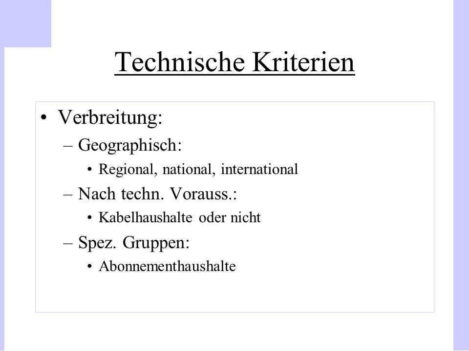 Technische Kriterien Verbreitung: Geographisch: Nach techn. Vorauss.: