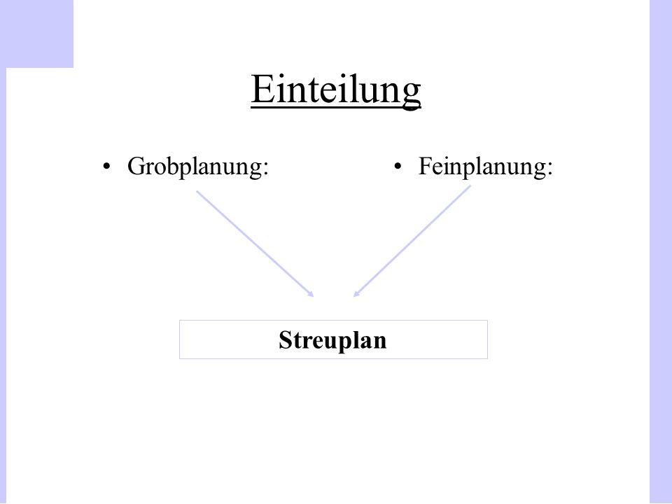 Einteilung Grobplanung: Feinplanung: Streuplan