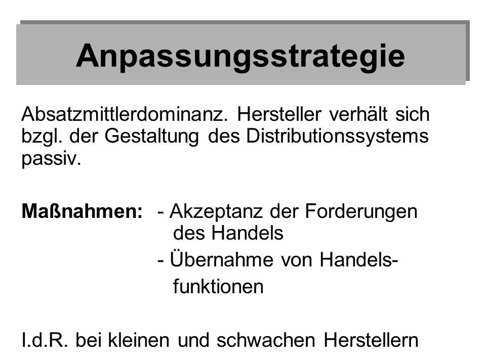 Anpassungsstrategie Absatzmittlerdominanz. Hersteller verhält sich bzgl. der Gestaltung des Distributionssystems passiv.