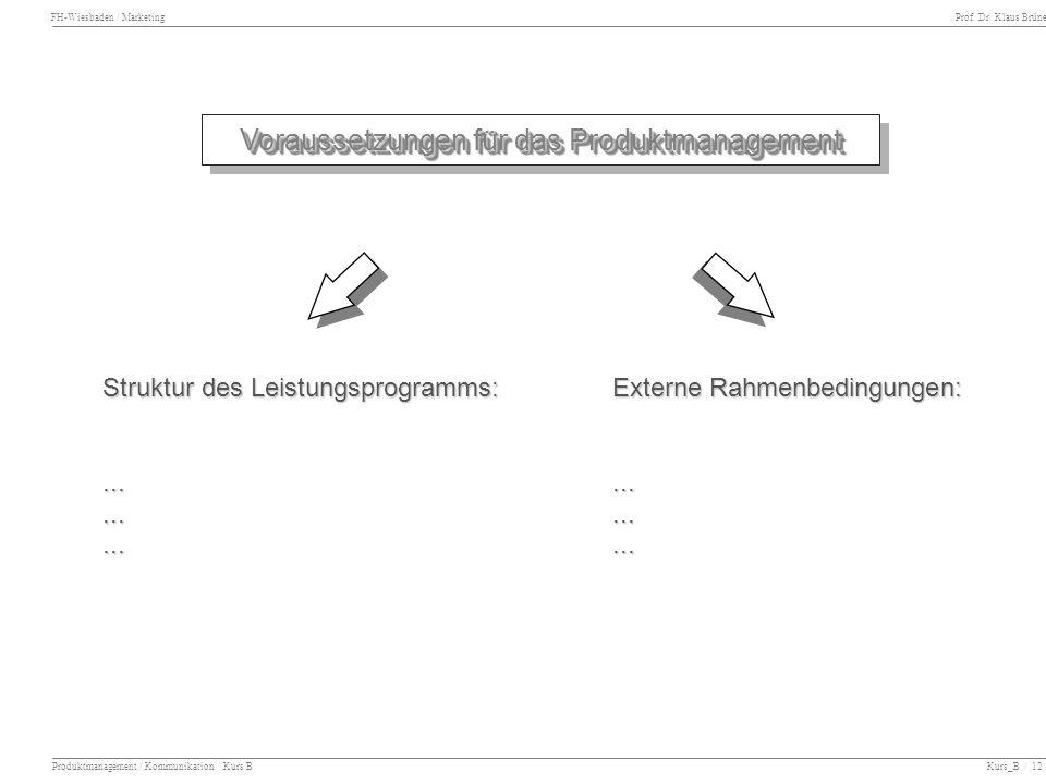 Voraussetzungen für das Produktmanagement