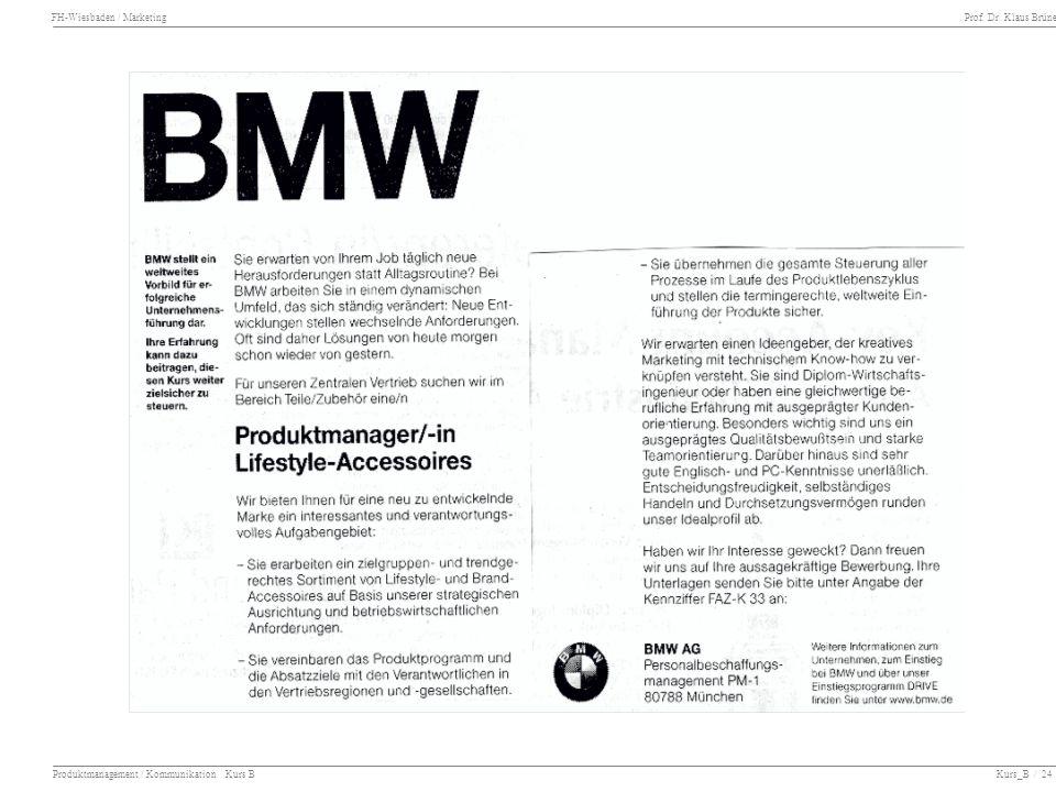 Produktmanagement / Kommunikation Kurs B Kurs_B / 24
