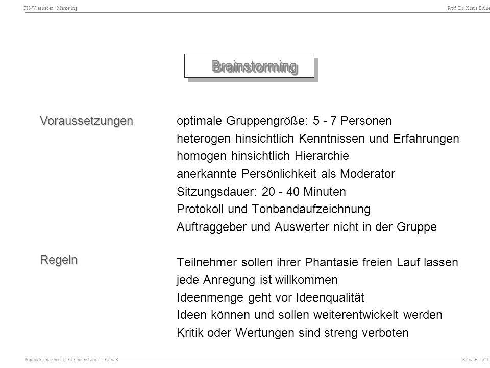 Brainstorming Voraussetzungen optimale Gruppengröße: 5 - 7 Personen