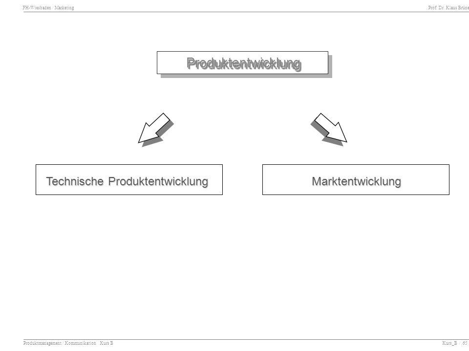Produktentwicklung Technische Produktentwicklung Marktentwicklung
