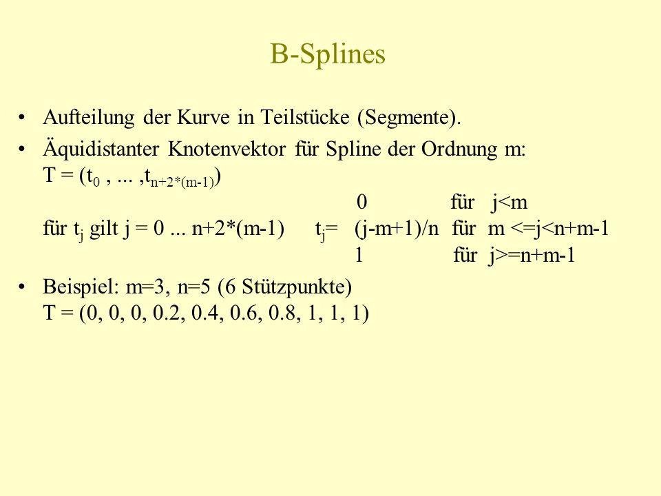 B-Splines Aufteilung der Kurve in Teilstücke (Segmente).