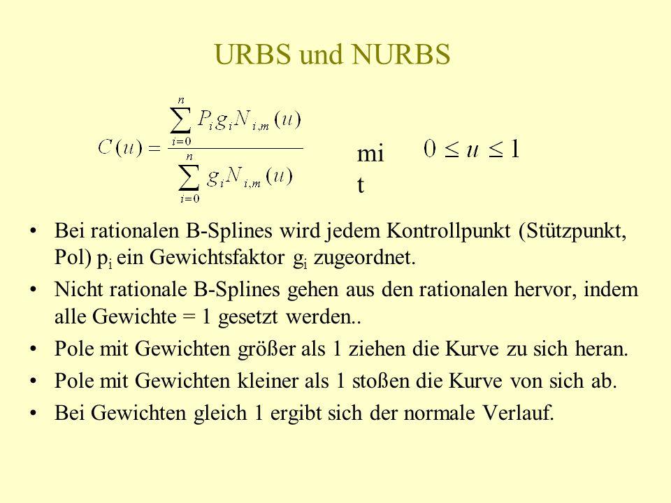 URBS und NURBS mit. Bei rationalen B-Splines wird jedem Kontrollpunkt (Stützpunkt, Pol) pi ein Gewichtsfaktor gi zugeordnet.