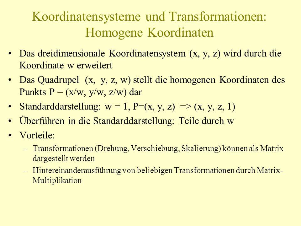 Koordinatensysteme und Transformationen: Homogene Koordinaten