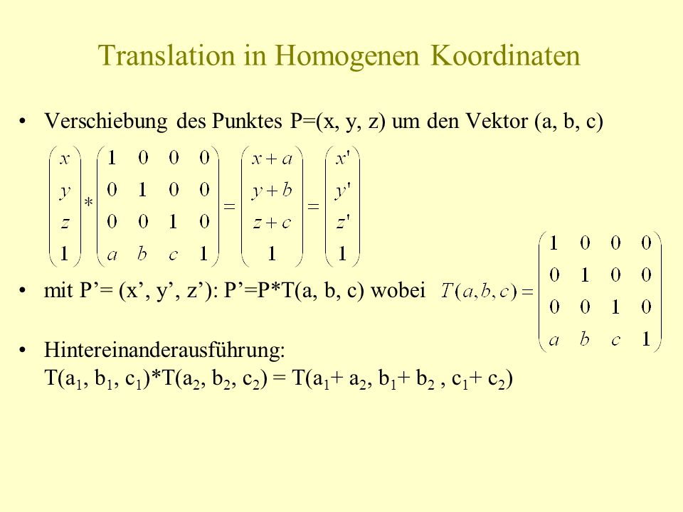 Translation in Homogenen Koordinaten