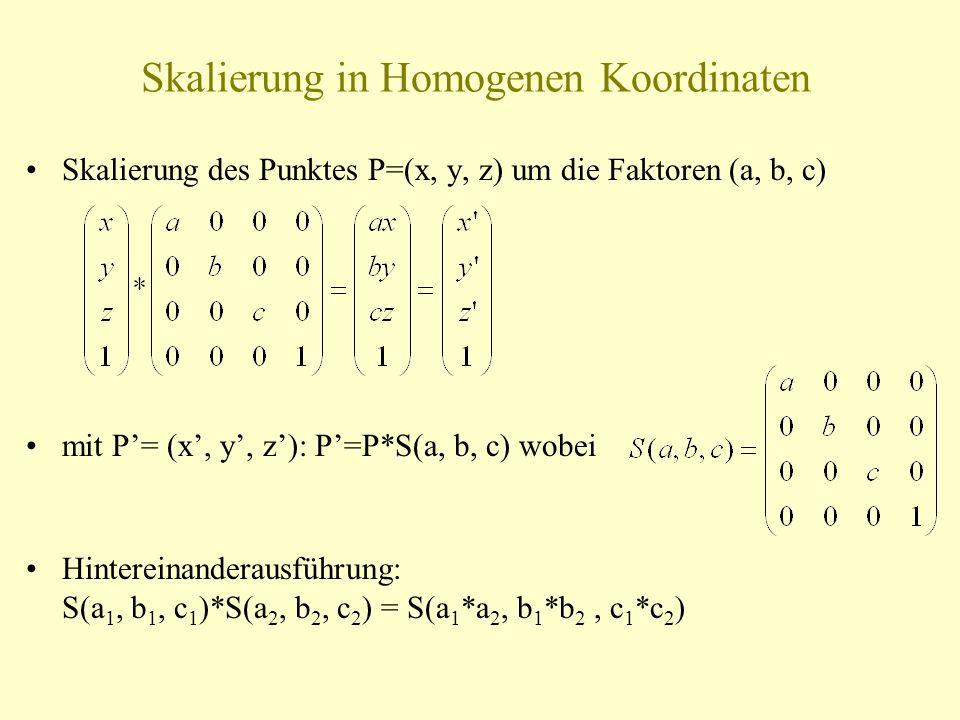 Skalierung in Homogenen Koordinaten