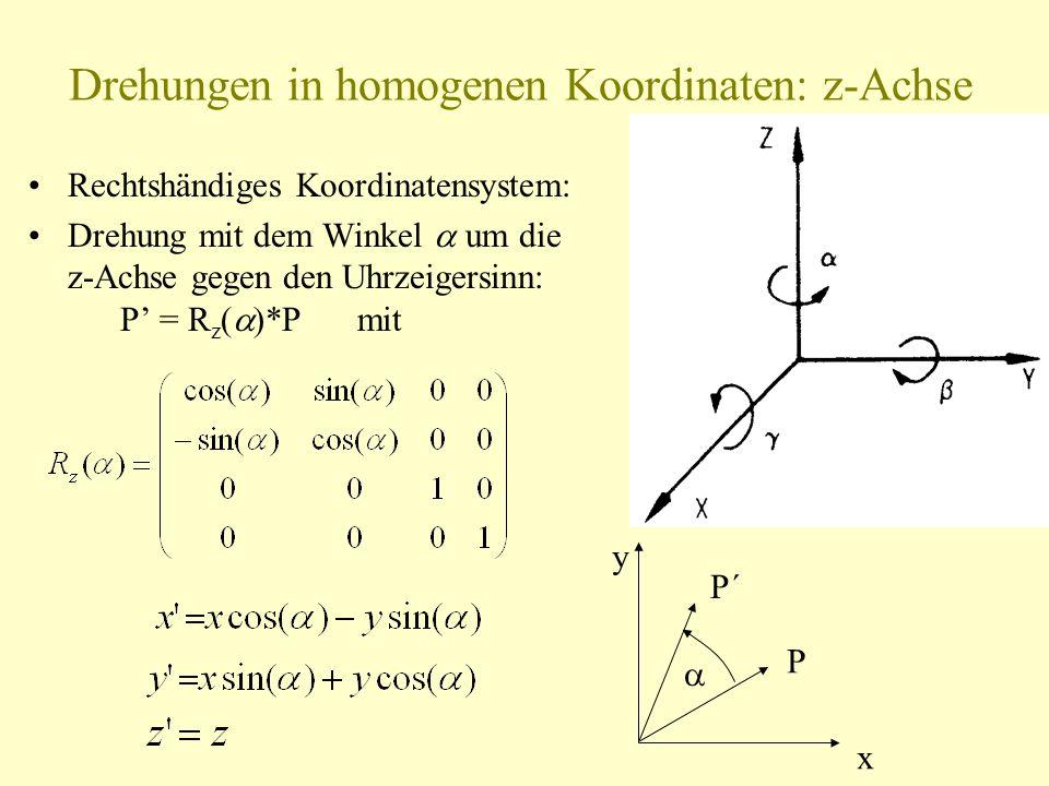 Drehungen in homogenen Koordinaten: z-Achse