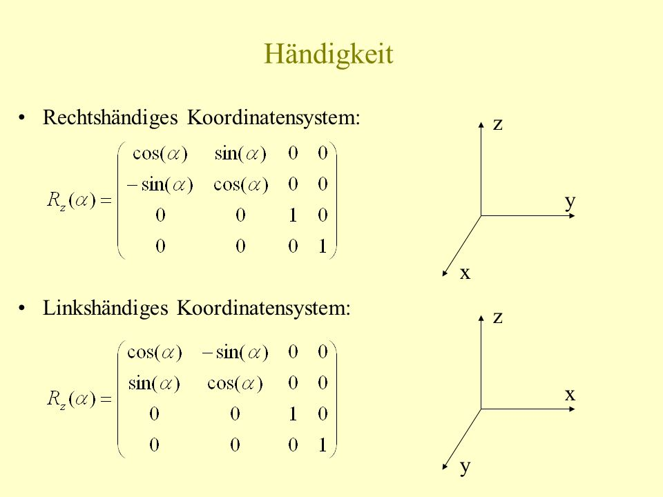 Händigkeit Rechtshändiges Koordinatensystem: z y