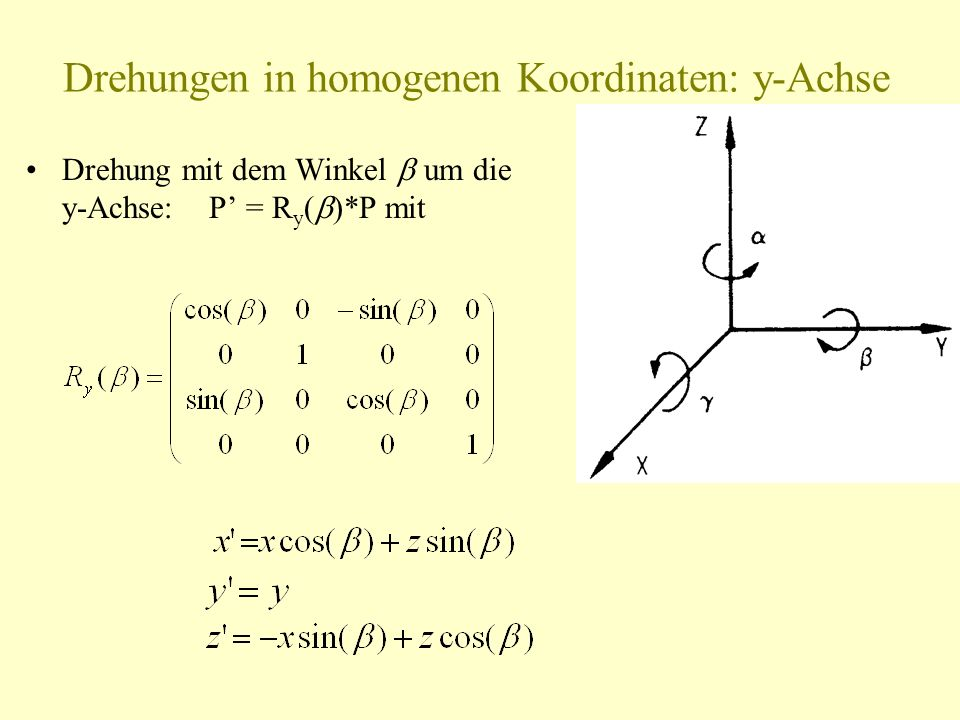 Drehungen in homogenen Koordinaten: y-Achse