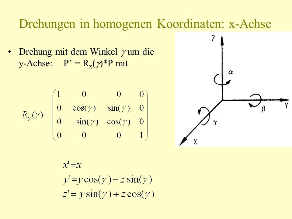 Drehungen in homogenen Koordinaten: x-Achse