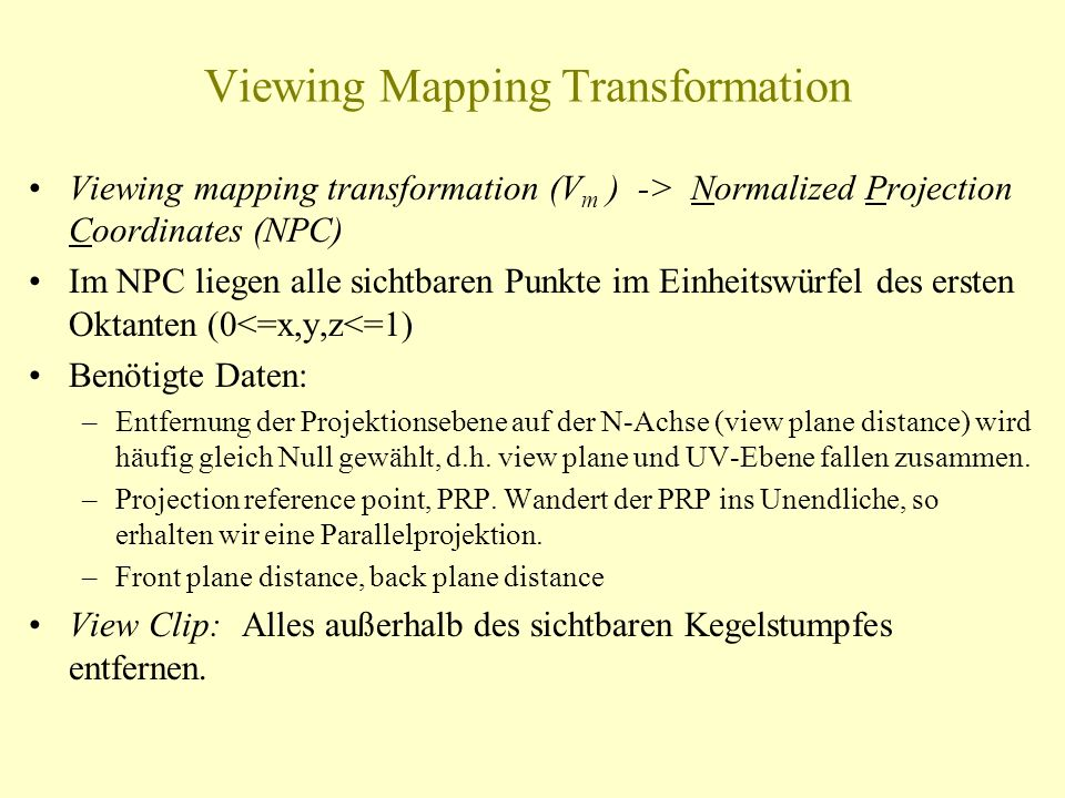 Viewing Mapping Transformation