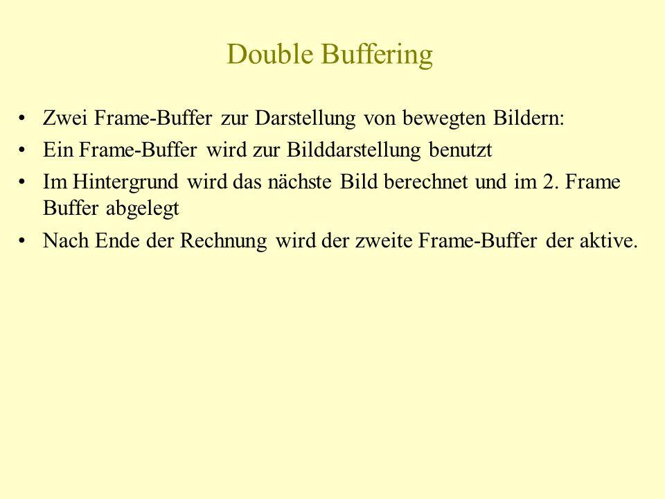 Double Buffering Zwei Frame-Buffer zur Darstellung von bewegten Bildern: Ein Frame-Buffer wird zur Bilddarstellung benutzt.