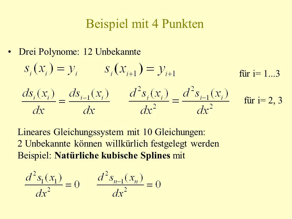 Beispiel mit 4 Punkten Drei Polynome: 12 Unbekannte für i= 1...3