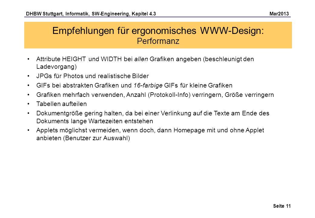 Empfehlungen für ergonomisches WWW-Design: Performanz