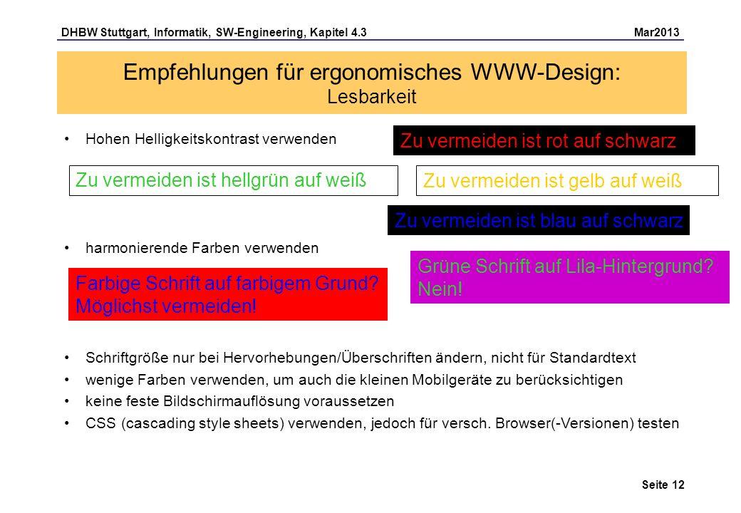 Empfehlungen für ergonomisches WWW-Design: Lesbarkeit