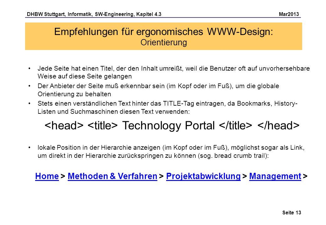 Empfehlungen für ergonomisches WWW-Design: Orientierung