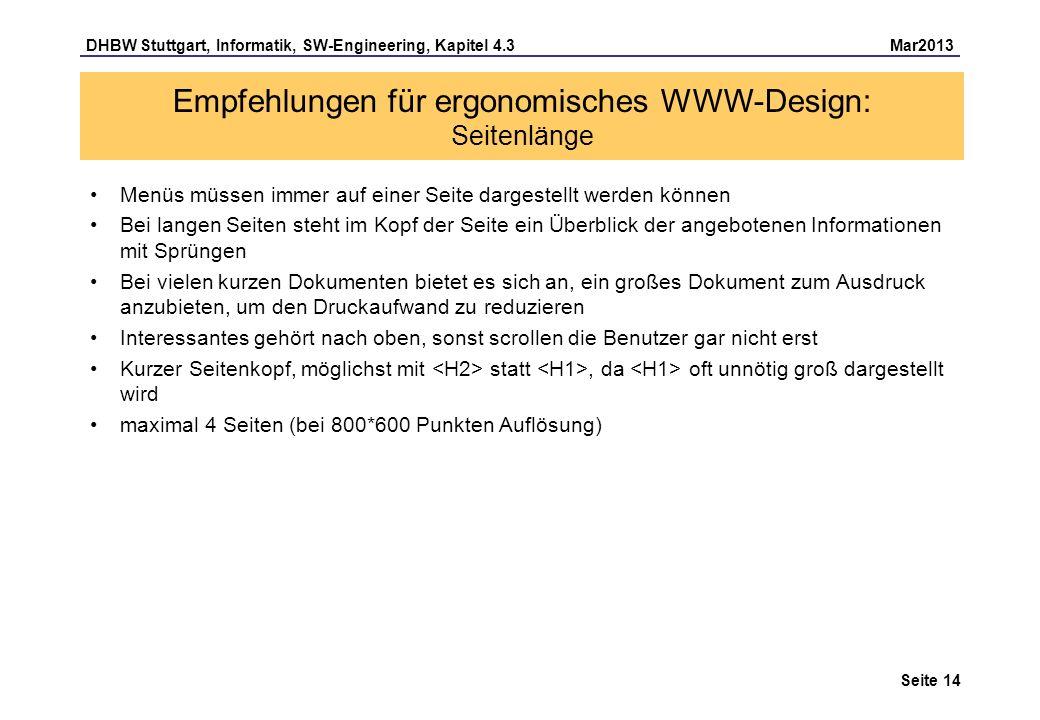 Empfehlungen für ergonomisches WWW-Design: Seitenlänge