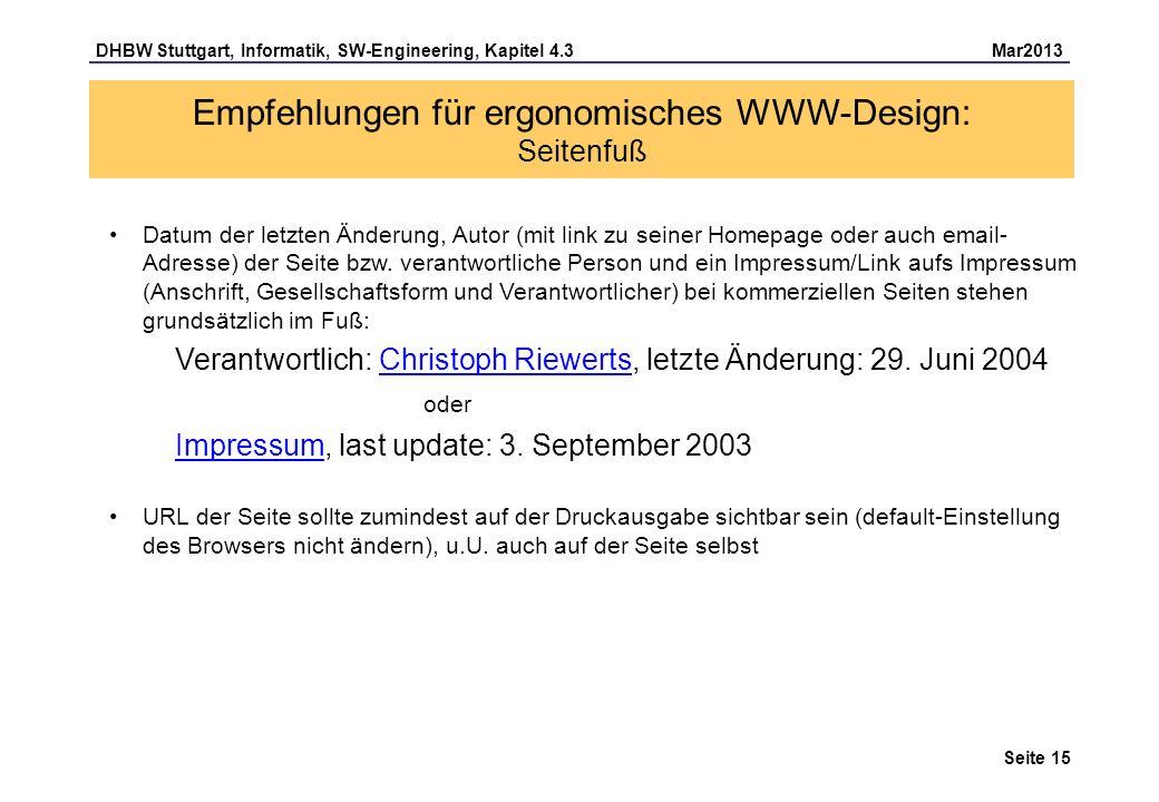 Empfehlungen für ergonomisches WWW-Design: Seitenfuß
