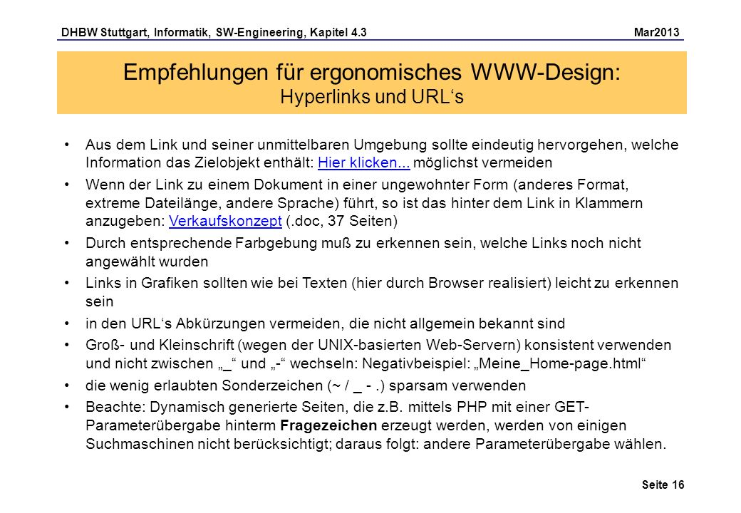 Empfehlungen für ergonomisches WWW-Design: Hyperlinks und URL's