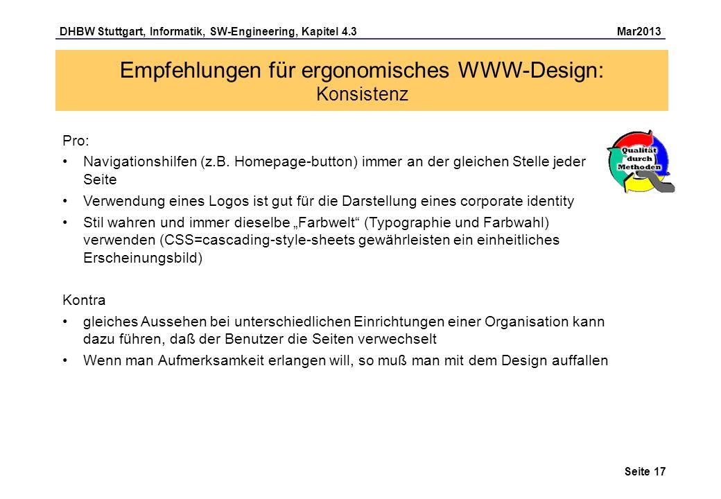 Empfehlungen für ergonomisches WWW-Design: Konsistenz