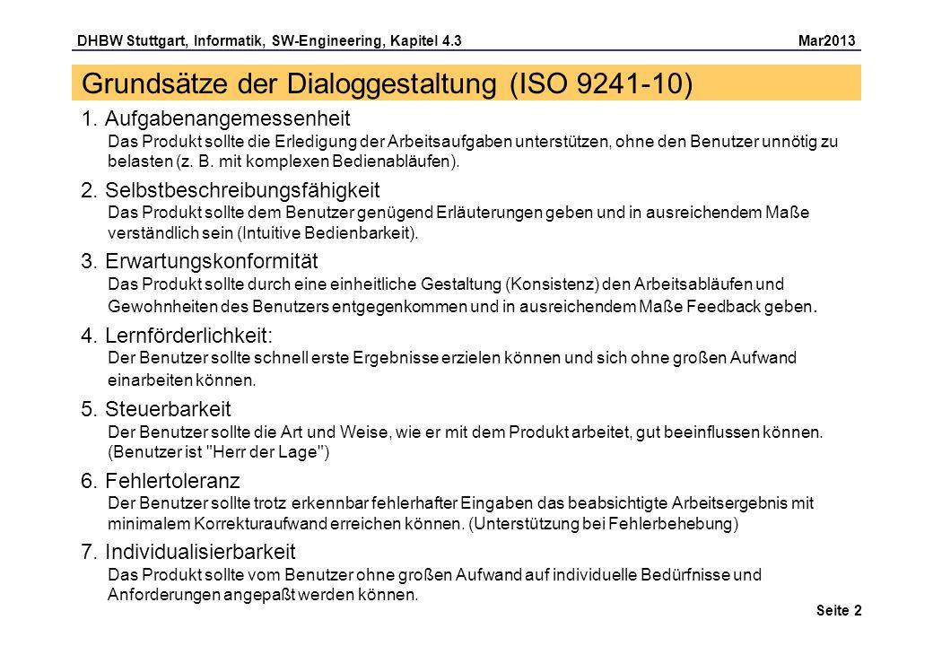 Grundsätze der Dialoggestaltung (ISO 9241-10)