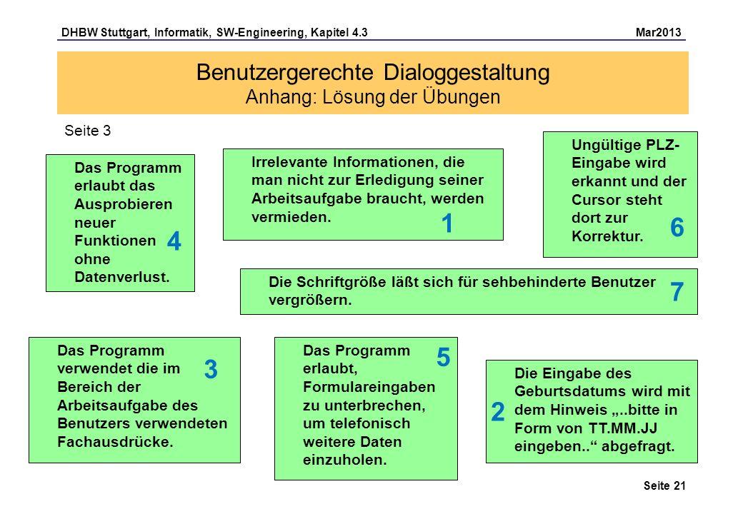 Benutzergerechte Dialoggestaltung Anhang: Lösung der Übungen