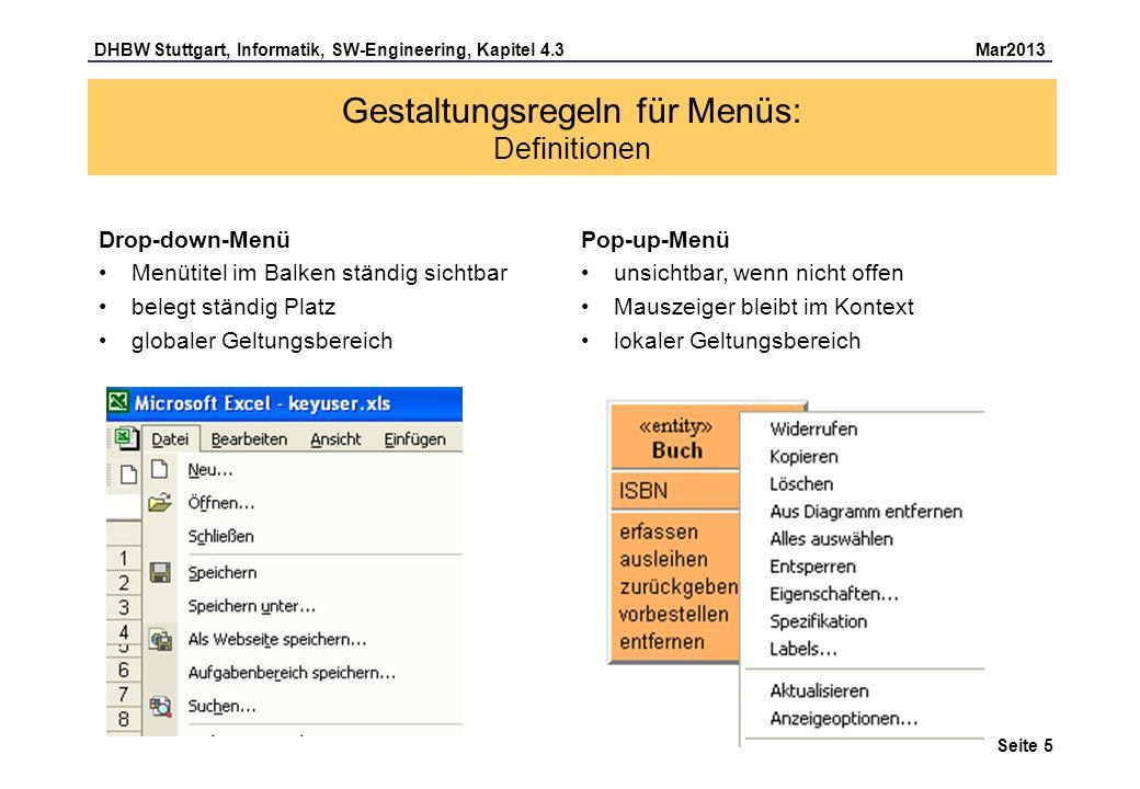 Gestaltungsregeln für Menüs: Definitionen