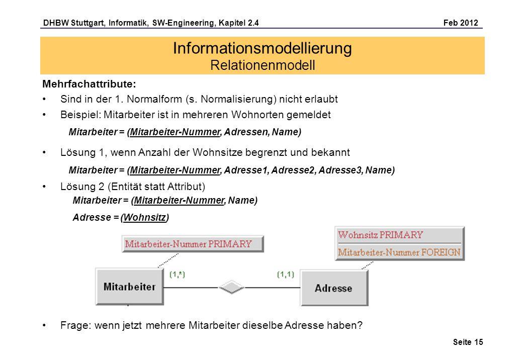Informationsmodellierung Relationenmodell