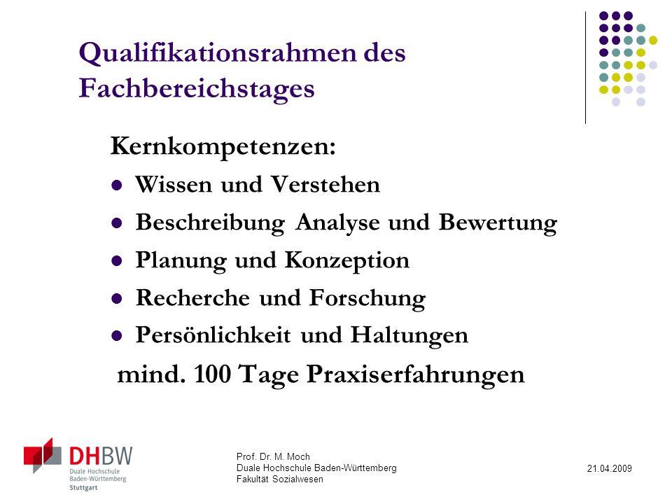 Qualifikationsrahmen des Fachbereichstages