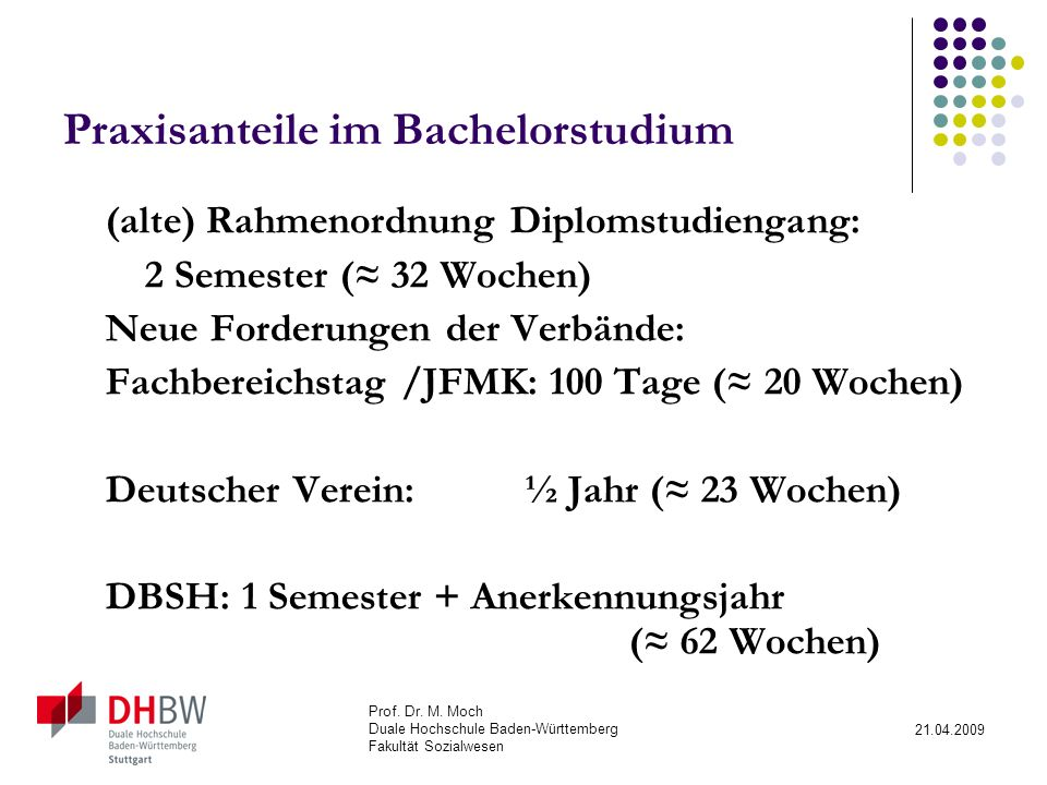 Praxisanteile im Bachelorstudium