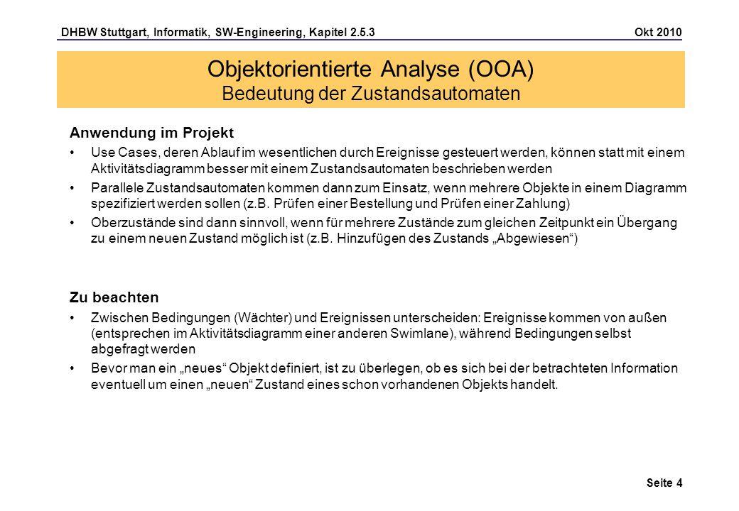 Objektorientierte Analyse (OOA) Bedeutung der Zustandsautomaten