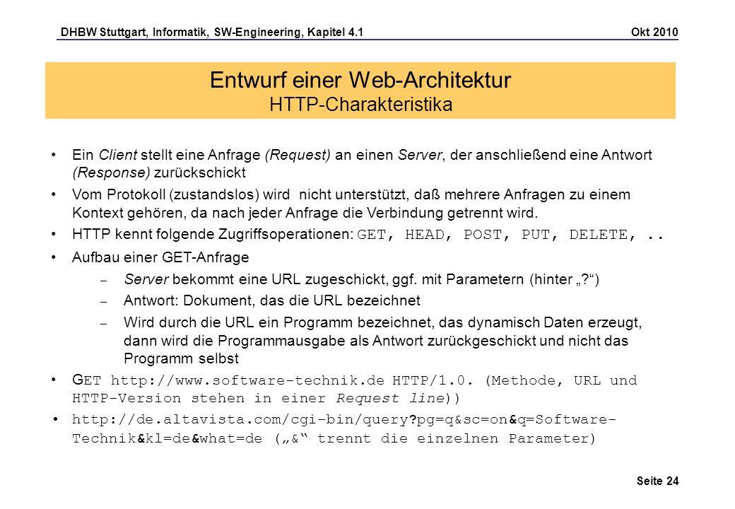 Entwurf einer Web-Architektur HTTP-Charakteristika