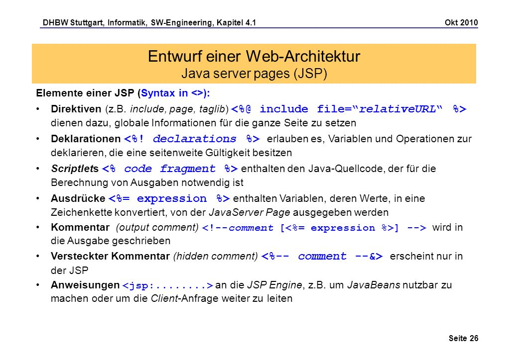 Entwurf einer Web-Architektur Java server pages (JSP)