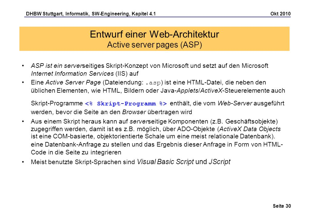 Entwurf einer Web-Architektur Active server pages (ASP)