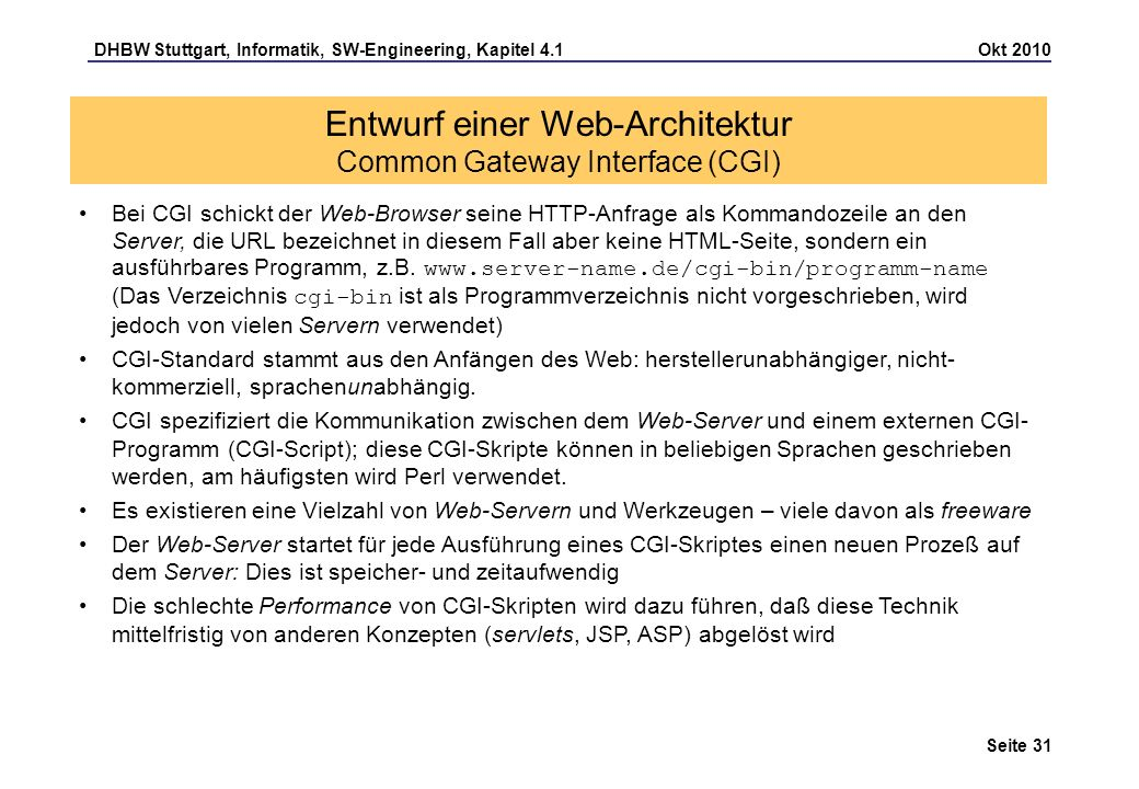Entwurf einer Web-Architektur Common Gateway Interface (CGI)