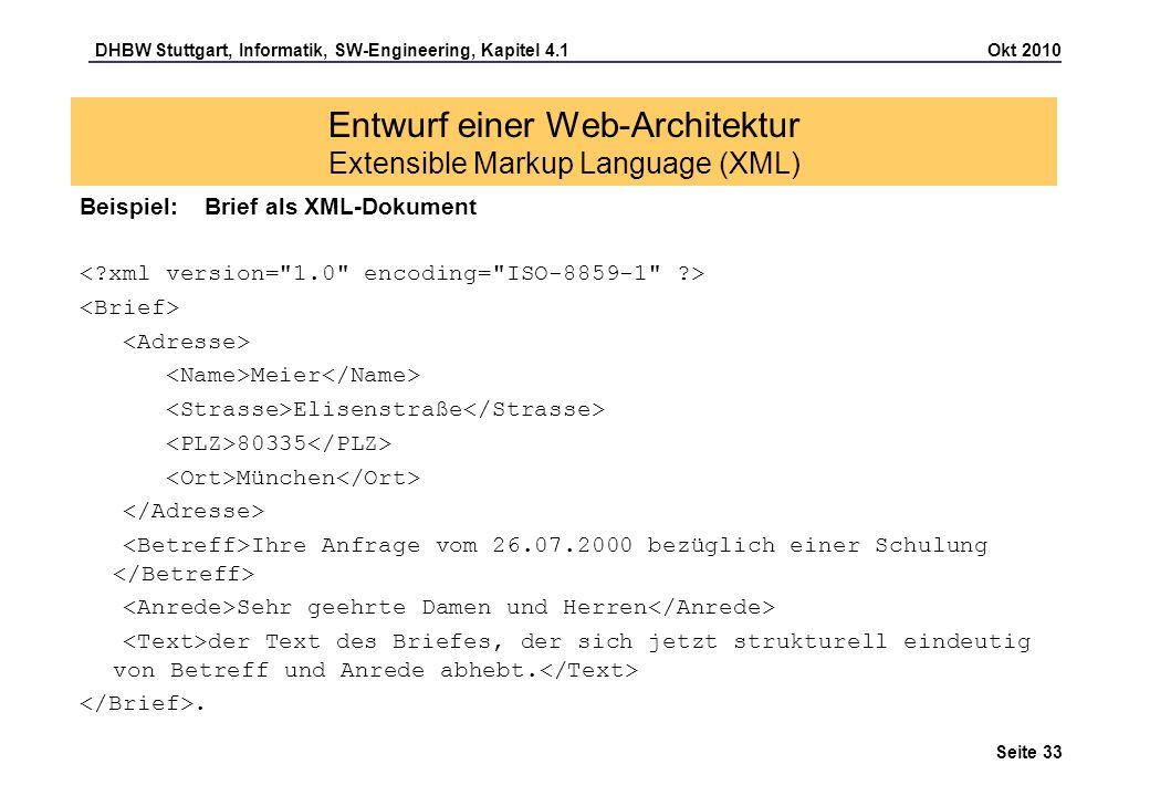 Entwurf einer Web-Architektur Extensible Markup Language (XML)