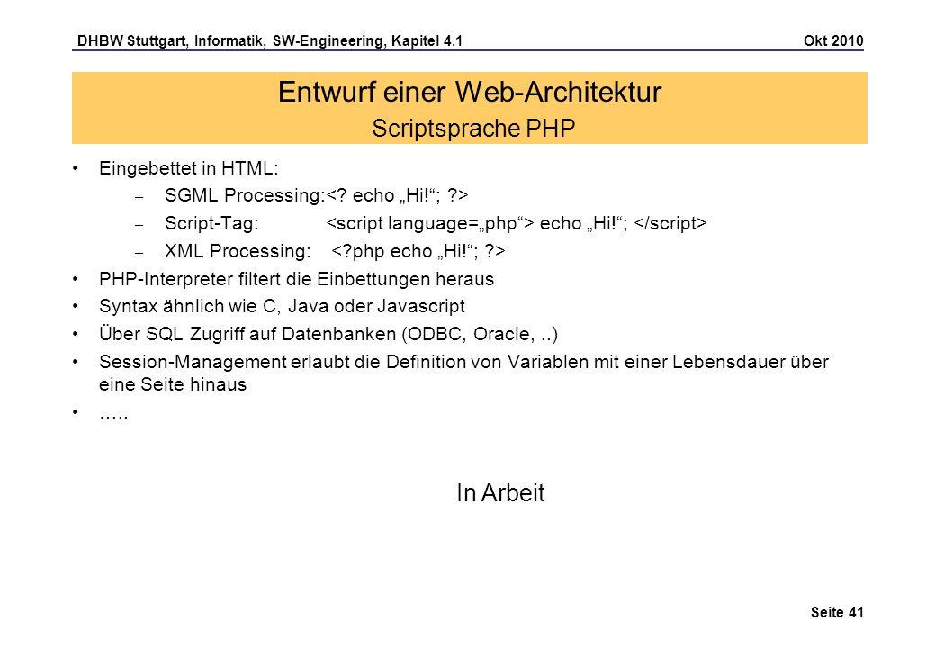 Entwurf einer Web-Architektur Scriptsprache PHP