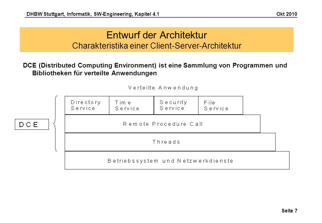 Entwurf der Architektur Charakteristika einer Client-Server-Architektur