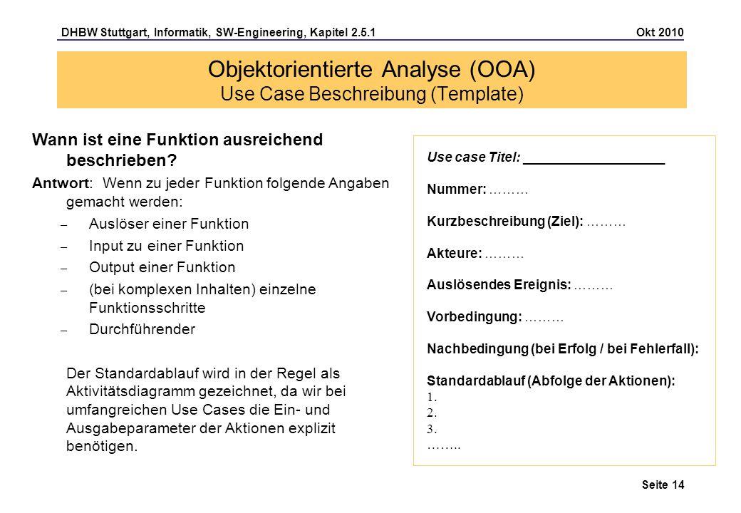 Objektorientierte Analyse (OOA) Use Case Beschreibung (Template)